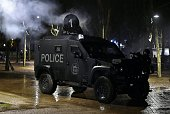 An armoured vehicle of the French special forces is pictured during a terrorist attack mock exercise on April 4 2016 around Bordeaux's Euro 2016 fan...