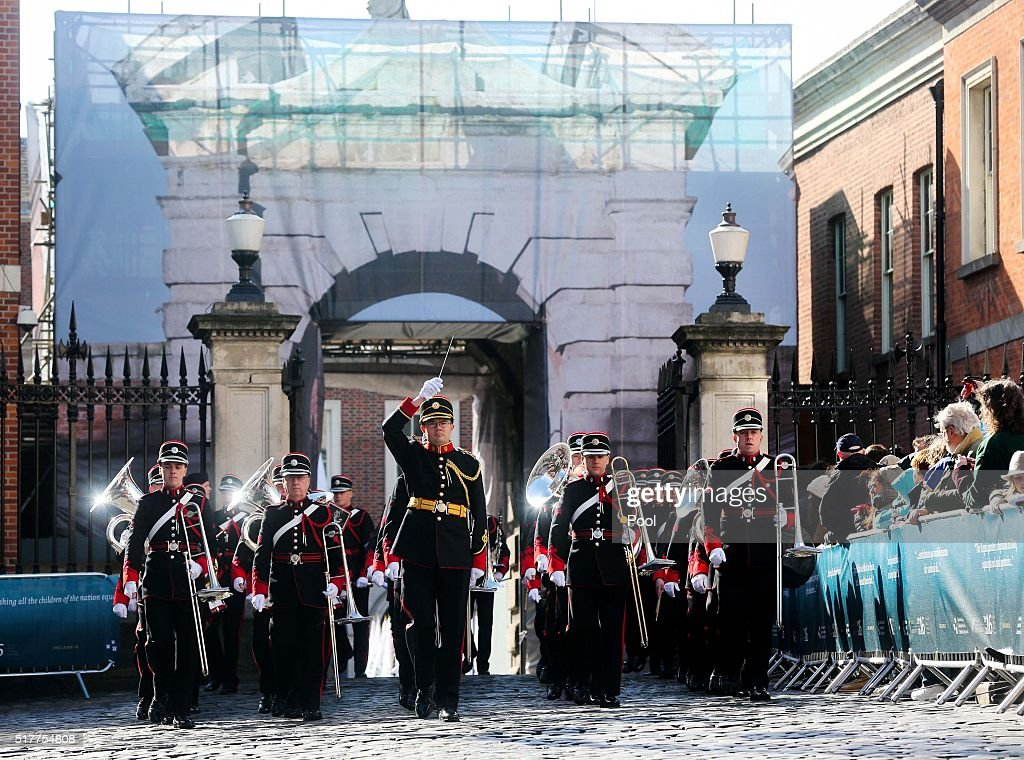 An army band at the Easter Sunday Commemoration Ceremony at Dublin Castle on March 27 2016 in Dublin Ireland Today marks the 100th anniversary of the...