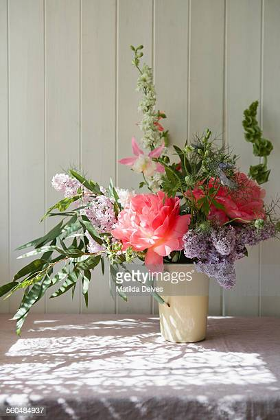 An arrangement of flowers on a table