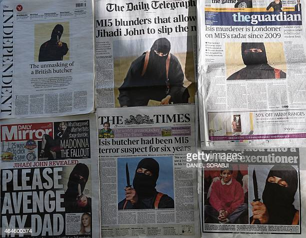 An arrangment of British daily newspapers photographed in London on February 27 2015 shows the frontpage headlines and stories regarding the...