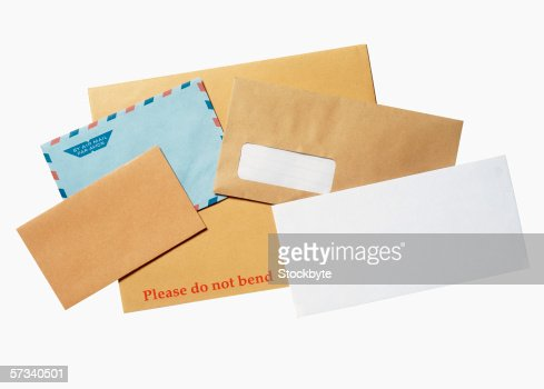 an array of envelopes from the mail : ストックフォト