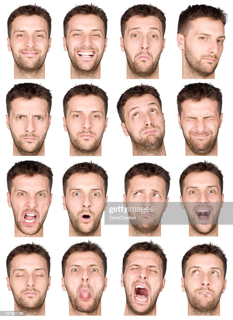 adult male short air and beard montage of 16 expressions