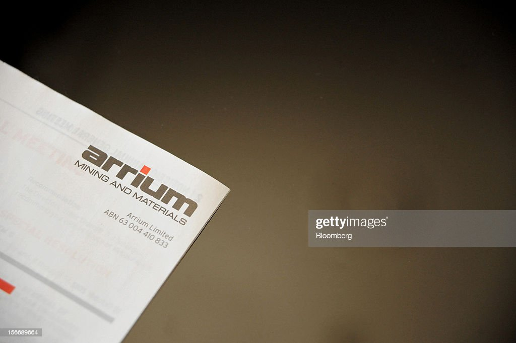 An Arrium Ltd. information brochure is arranged for a photograph at the company's annual general meeting in Melbourne, Australia, on Monday, Nov. 19, 2012. Arrium, which rebuffed a A$1.2 billion ($1.24 billion) takeover offer from a Noble Group Ltd. and Posco-led consortium last month, said Geoff Plummer will step down as chief executive officer by the end of next year. Photographer: Carla Gottgens/Bloomberg via Getty Images
