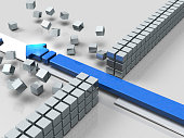 An arrow breaking through an obstacle indicates success. 3D illustration