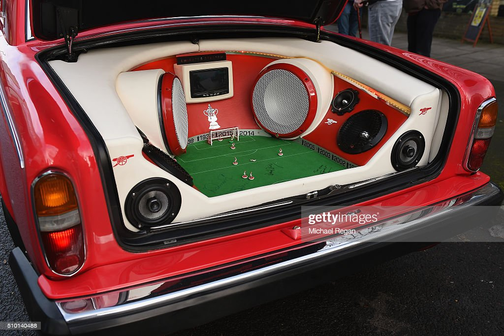 An Arsenal fans customised car prior to the Barclays Premier League match between Arsenal and Leicester City at the Emirates Stadium.