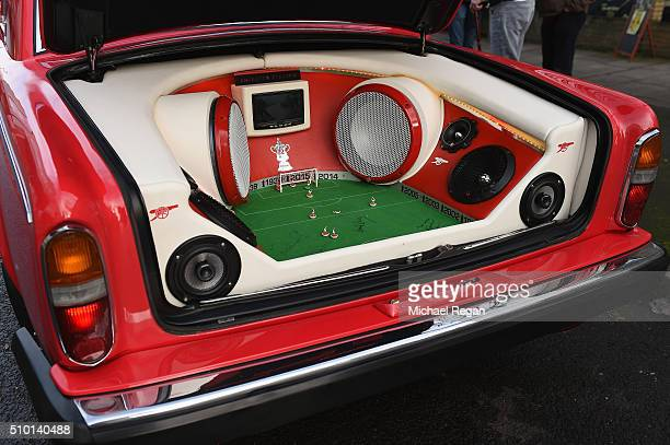 An Arsenal fans customised car prior to the Barclays Premier League match between Arsenal and Leicester City at the Emirates Stadium