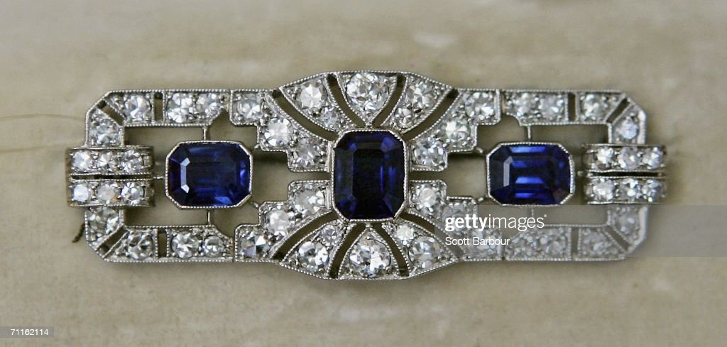 An Art deco Sapphire and Diamond Broach sits on display during a photocall of jewellery and works of art from the Collection of Her Royal Highness The Princess Margaret, Countess of Snowdon at Christie's on June 9, 2006 in London, England. Jewellery and and works of art of Princess Margaret, sister of Queen Elizabeth II, will be auctioned off on June 13 and 14.