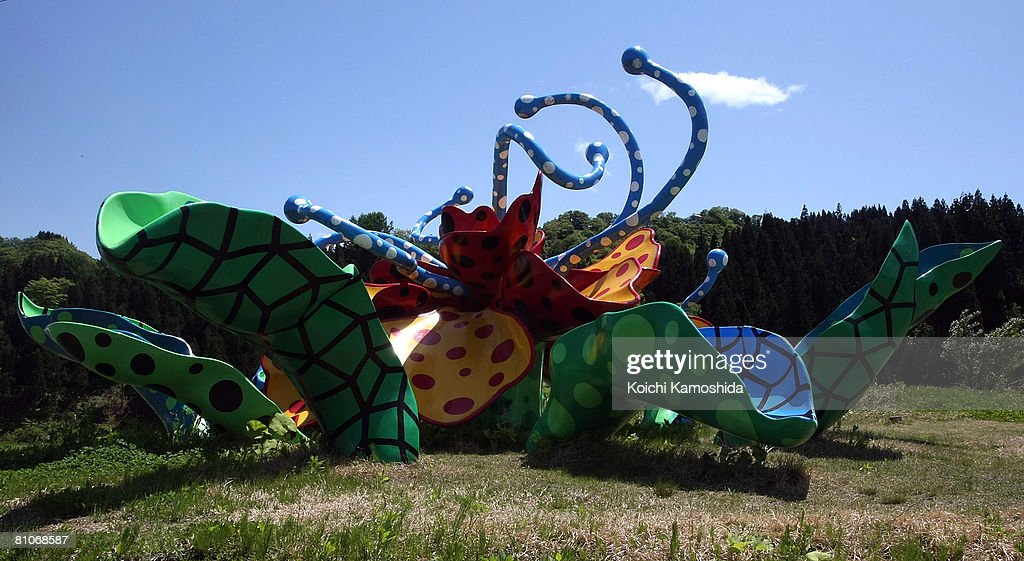 An art installation depicting a flower is displayed at Matsudai Tanada region on May 13, 2008 in Niigata, Japan. Niigata is renowned as one of Japan's best rice-growing area, ranking second amongst all the prefectures in terms of rice production. In the region rice is traditionally planted in May and then harvested in October. The rice terraces are used not only as for rice growing but also act as natural dams to store waters in mountains.