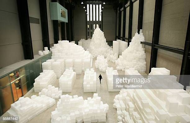 An art installation entitled 'EMBANKMENT' by Rachel Whiteread is seen in the Turbine Hall of the Tate Modern on October 10 2005 in London Whiteread's...