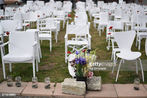 An art installation featuring 185 empty chairs to represent the loss of lives following the 2011 Christchurch Earthquake is seen ahead of a Civic...