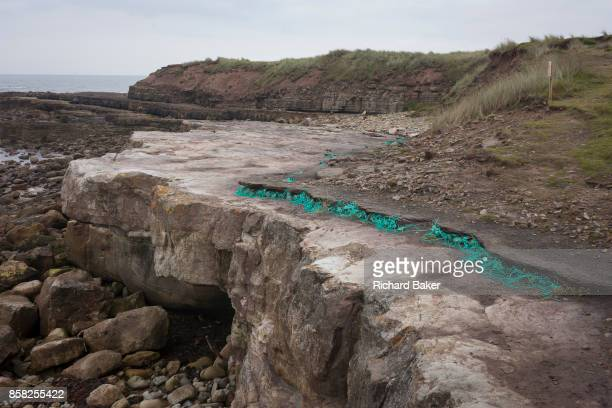 An art instillation entitled Technofossil by the artist Helen Paling blends with the coastal landscape of Coves Haven on Holy Island on 27th...