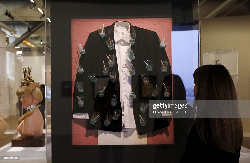 An art piece entitled 'Le veston aphrodisiaque' (Aphrodisiac jacket) by Spanish surrealist artist Salvador Dali is displayed during an exhibition devoted to his work at the Centre Pompidou art center (aka Beaubourg) on November 19, 2012 in Paris. More than 30 years after the first retrospective in 1979, the event gathers more than 200 art pieces and runs until March 13, 2013.