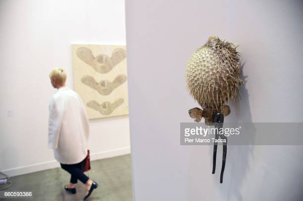 An Art work of Michael E Smith 'Porcupine Fish' is displayed during the Miart Fair 2017 at Fiera Milano City on March 30 2017 in Milan Italy