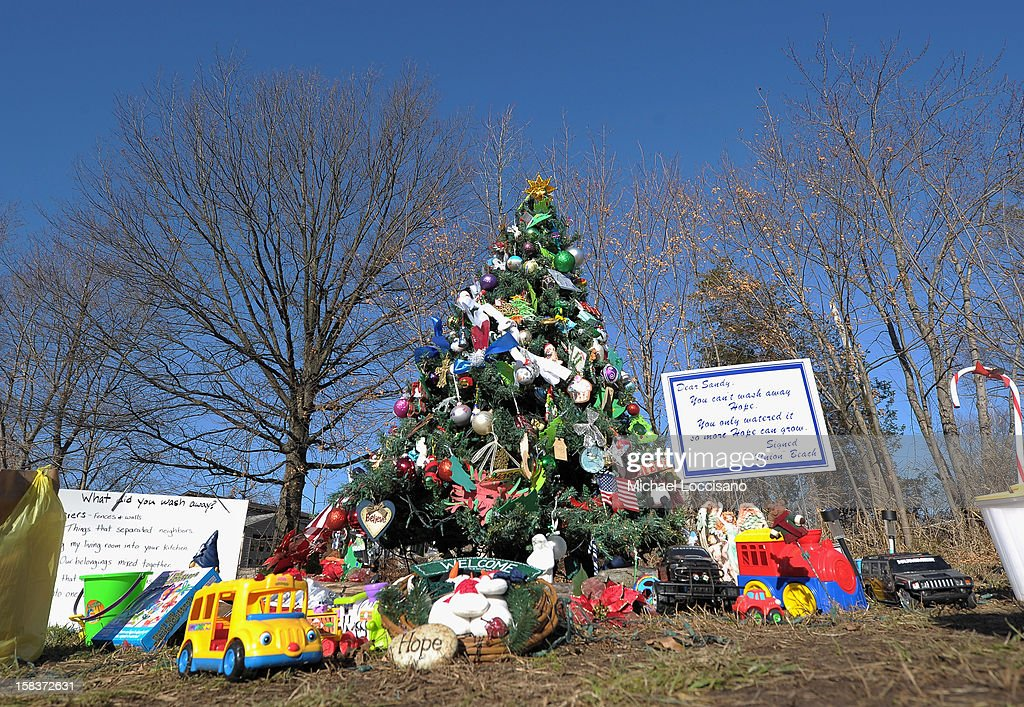 An artificial Christmas tree, known as the 'Tree of Hope' stands in an empty grass lot on December 14, 2012 in Union Beach, New Jersey. The tree, rescued from a pile of trash and wreckage left by Superstorm Sandy and put up by a local resident, has been visited and decorated by people from all over who consider it a symbol of hope.