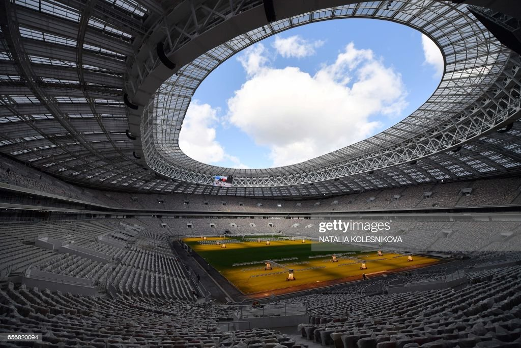Let there be light! Moscow's Luzhniki Stadium looks ready for a World Cup Final!