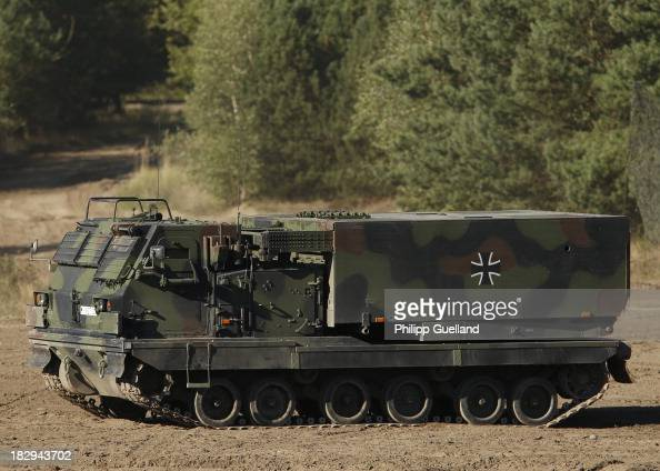 An artillery rocket Launcher MARS II is seen during the annual military exercises held for the media at the Bergen military training grounds on...