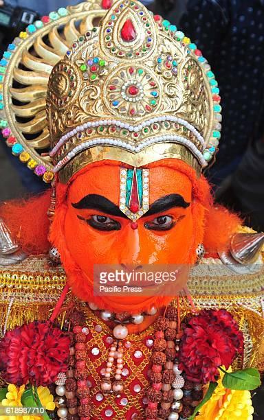 An artist dressed as monkey god Hanuman take part in a religious procession as part of the Hindu festival of Hanuman Jayanti in Allahabad Hanuman...