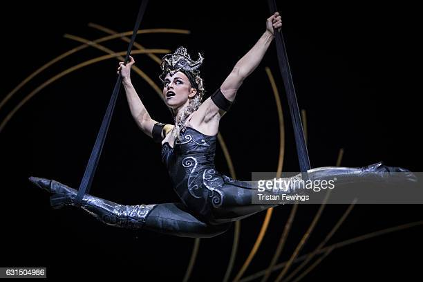 An artist from Cirque Du Soleil performs during a dress rehearsal for Cirque du Soleil's 'Amaluna' at Royal Albert Hall on January 11 2017 in London...