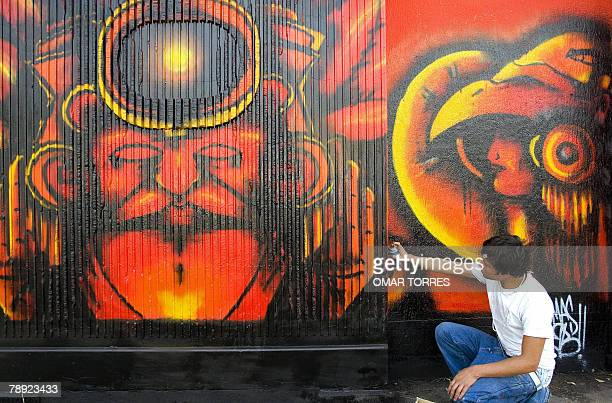 An artist gives the final touches to his work in the perimeter wall of the Azteca stadium in Mexico City 13 January 2008 during a graffiti contest...