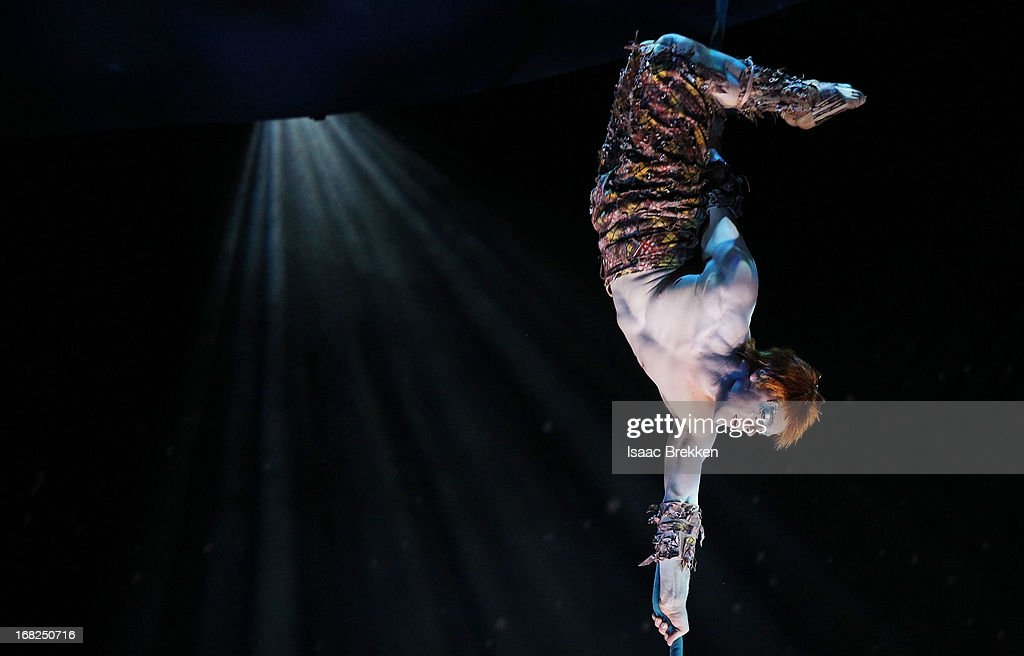 An artist performs during a sneak peek of 'Michael Jackson ONE' by Cirque du Soleil at Mandalay Bay Resort & Casino on May 7, 2013 in Las Vegas, Nevada.