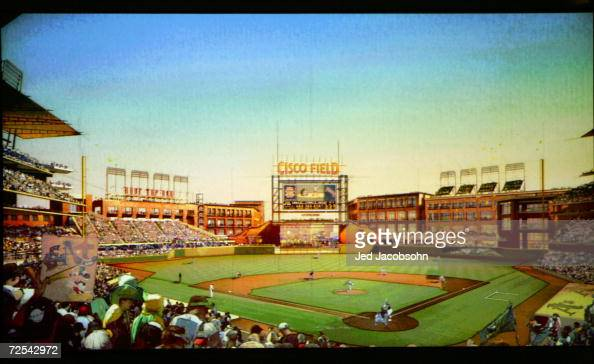 An artist rendering of the new Cisco Field at a press conference announcing the building of a new ballpark in Fremont California on land owned by...