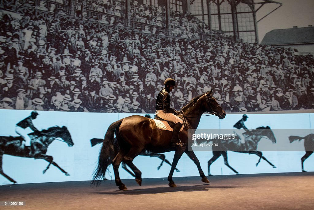 An artist riding horse perform during the opening ceremony of the 51st Karlovy Vary International Film Festival (KVIFF) on July 1, 2016 in Karlovy Vary, Czech Republic.