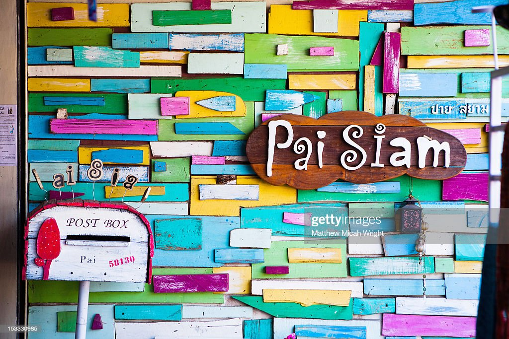 An artistic wall display of signs in Pai. : Stock Photo