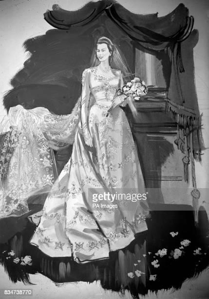 An artist's impression of Princess Elizabeth's wedding gown designed by Norman Hartnell for the wedding of Princess Elizabeth and Lieut Phillip...
