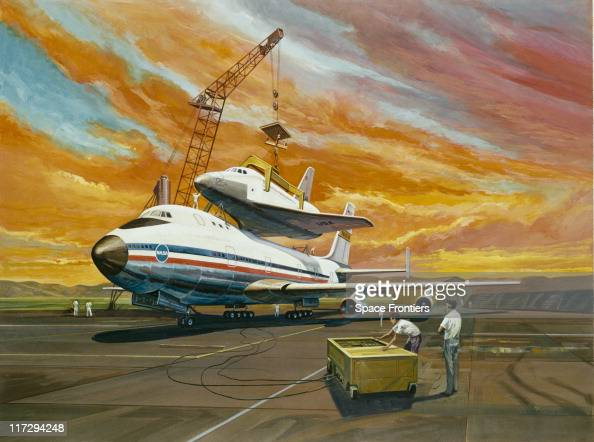 An artist's impression of the prototype Space Shuttle Enterprise being mounted on the Boeing 747 Shuttle Carrier Aircraft before an approach and...