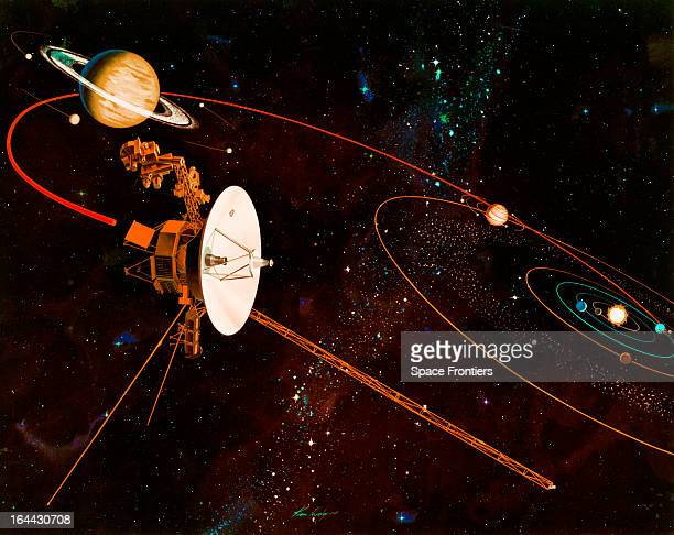 An artist's impression of the trajectory to be taken by NASA's Voyager 1 and Voyager 2 space probes on their missions to study Jupiter and Saturn