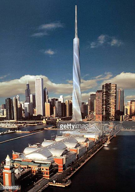 An artist's rendering provided by the Fordham Company depicts the newly proposed 2000foot Fordham Spire skyscraper to be built in Chicago and...