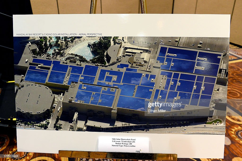 An artist's rendering shows an aerial view of solar panels on the roof of the Mandalay Bay Convention Center during a news conference announcing MGM Resorts International's planned installation of the world's second largest rooftop solar photovoltaic array on July 2, 2013 in Las Vegas, Nevada. The 6.2-megawatt array will use 20,000 solar panels to cover about 20 acres of the convention center's roof and will provide 20 percent of the resort's energy needs. It was also announced that the National Clean Energy Summit 6.0 will be held at the resort on August 13, 2013, and will focus on the future of clean energy.