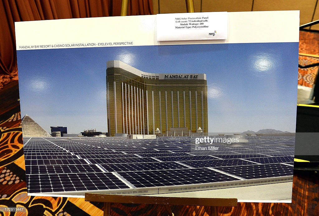 An artist's rendering shows solar panels on the roof of the Mandalay Bay Convention Center during a news conference announcing MGM Resorts International's planned installation of the world's second largest rooftop solar photovoltaic array on July 2, 2013 in Las Vegas, Nevada. The 6.2-megawatt array will use 20,000 solar panels to cover about 20 acres of the convention center's roof and will provide 20 percent of the resort's energy needs. It was also announced that the National Clean Energy Summit 6.0 will be held at the resort on August 13, 2013, and will focus on the future of clean energy.