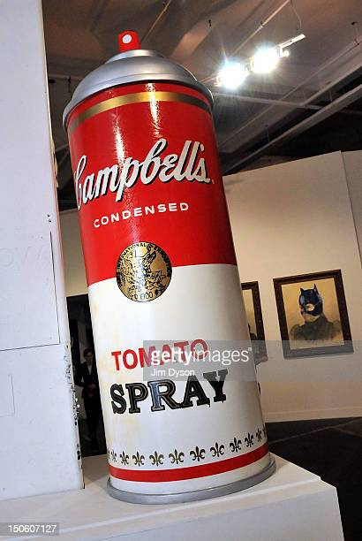 An artwork by controversial Los Angeles based French pop artist Thierry Guetta aka Mr Brainwash is pictured at the Old Sorting Office during his...
