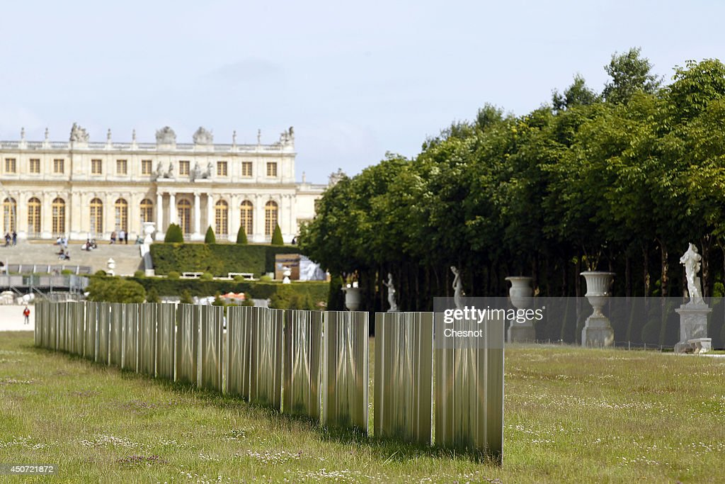 An artwork entitled ' Lames de vent ' ( Wavelenght space) by South Korean artist Lee Ufan is displayed during the exhibition 'Lee Ufan Versailles' at the Chateau de Versailles on June 16, 2014 in Versailles, France. Painter and sculptor Lee Ufan, 77, has created a variety of artworks made of stone and steel for an exhibition at the Chateau de Versailles, outside Paris. The exhibition opens from June 17 until November 02, 2014 at the Chateau de Versailles.