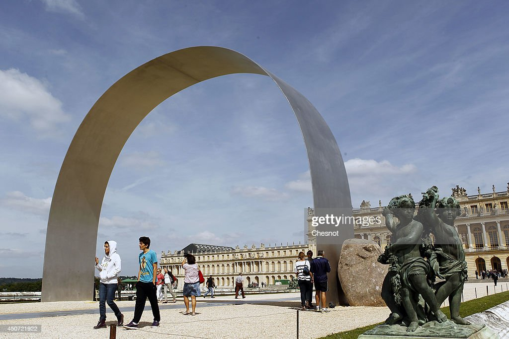 An artwork entitled 'L'arche de Versailles' ('The arch of Versailles') by South Korean artist Lee Ufan is displayed during the exhibition 'Lee Ufan Versailles' at the Chateau de Versailles on June 16, 2014 in Versailles, France. Painter and sculptor Lee Ufan, 77, has created a variety of artworks made of stone and steel for an exhibition at the Chateau de Versailles, outside Paris. The exhibition opens from June 17 until November 02, 2014 at the Chateau de Versailles.