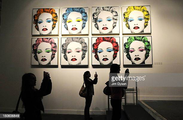 An artwork featuring Madonna by controversial Los Angeles based French pop artist Thierry Guetta aka Mr Brainwash is pictured at the Old Sorting...