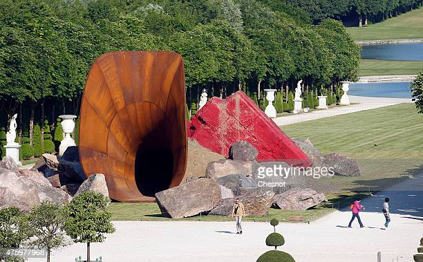 An artwork named 'Dirty Corner' by British contemporary artist of Indian origin Anish Kapoor is displayed in the gardens of the Chateau de Versailles...