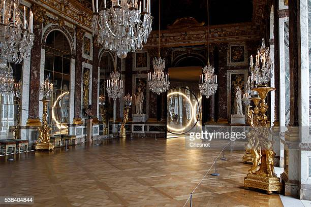 An artwork named 'Your sense of unity' by DanishIcelandic artist Olafur Eliasson is displayed in the hall of mirrors of the Chateau de Versailles on...