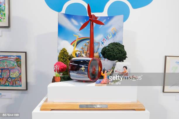 An artwork 'Note Car' for Engineering Inspiration Award on display during 11th Toyota Dream Car Art Contest Award Ceremony on August 23 2017 in Tokyo...