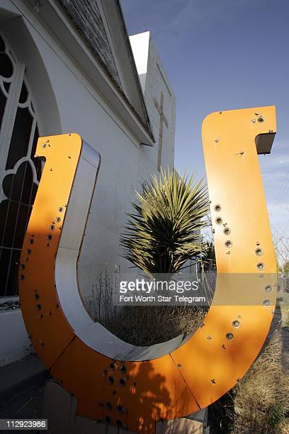 An arty take on yard art this horseshoe was originally from the Dallas' Ranch motel and is now in the front yard of a Marfa Texas' home