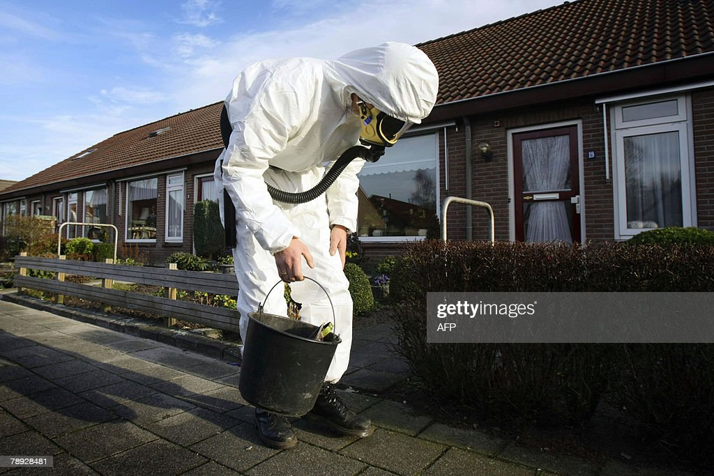 An asbestos removal specialist looks for asbestos fibers 14 January 2008 in the small Dutch village of Vroomshoop The asbestos fibers came out 12...