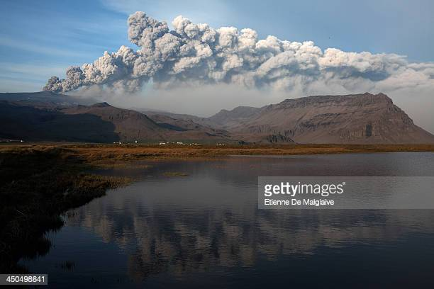 An ash plume from Iceland's Eyjafjallajokull crater during it's eruption spews tephra and a cloud of ashes that drifts toward continental Europe on...