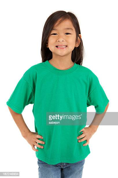 An Asian girl wearing a green t-shirt