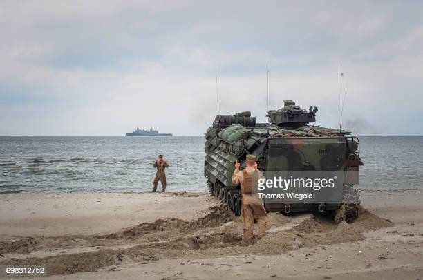 An Assault Amphibious Vehicles drives to the water during an Amphibious Landing Exercise on June 08 2017 in Oldenburg Germany