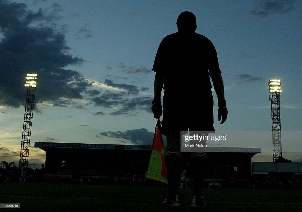 An assistant referee during the fourth round of Group A of the 2004 Oceania Football Confederation Mens Olympic Qualifying Tournament between...