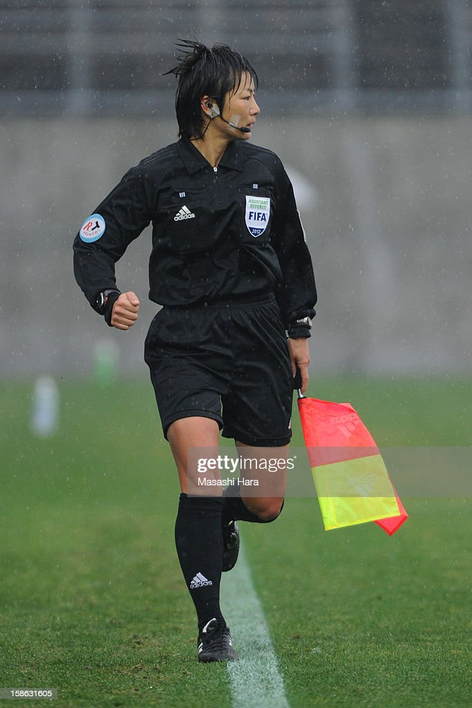 An assistant referee looks on during the 34th Empress's Cup All Japan Women's Football Tournament semi final match between Iga FC Kunoichi and JEF United Chiba Ladies at Nack 5 Stadium Omiya on December 22, 2012 in Saitama, Japan.