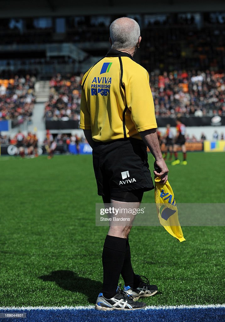 An Assistant Referee on the touchline during the Aviva Premiership match between Saracens and Bath at Allianz Park on May 04, 2013 in Barnet, England.