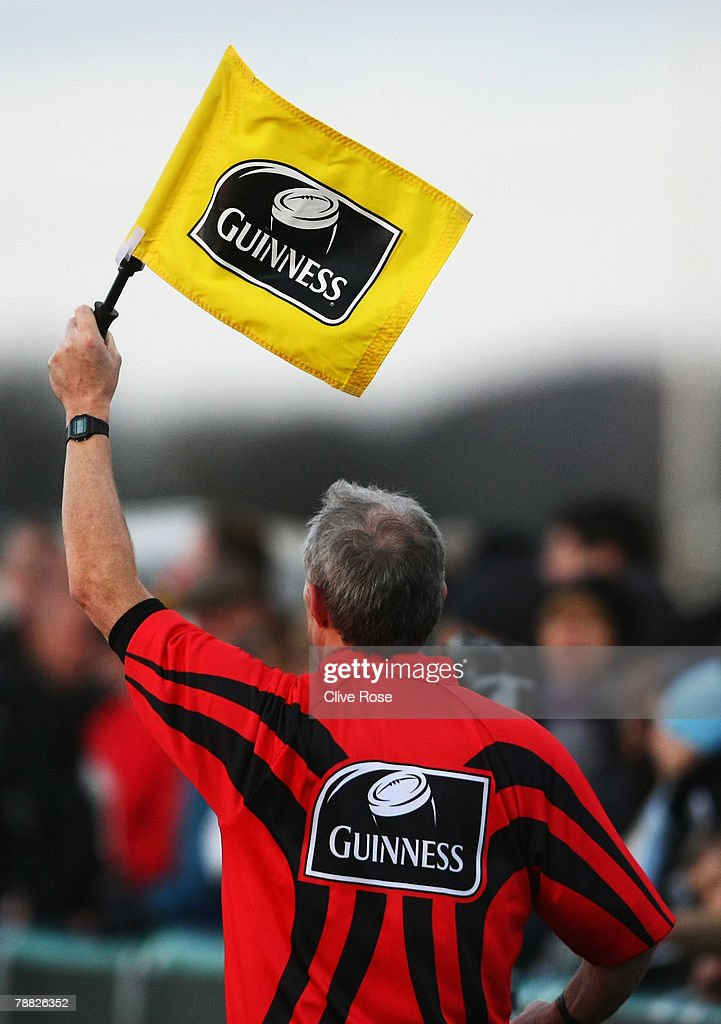 An assistant referee raises his flag during the Guinness Premiership match between Newcastle Falcons and Worcester Warriors at Kingston Park on...