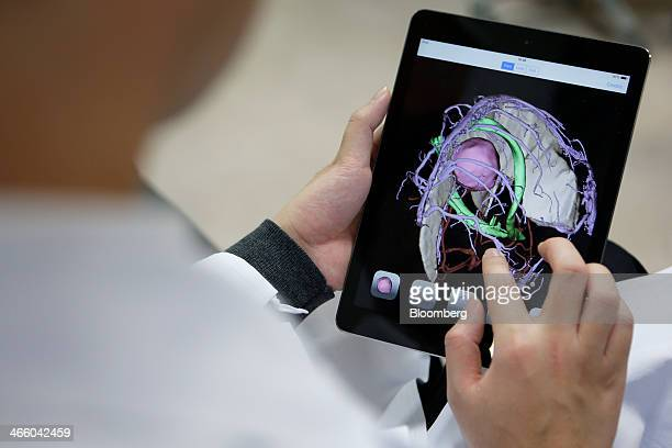 An associate professor uses an Apple Inc iPad tablet as he inspects 3D digital images of brain tumor cranial nerves and blood vessels of a brain...